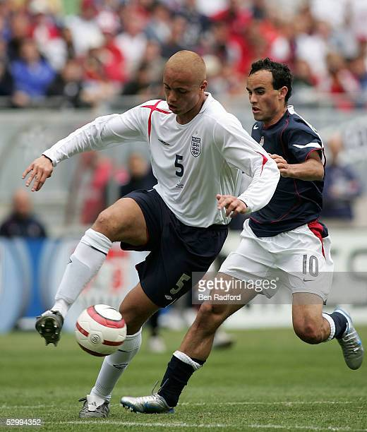 Wes Brown of England and Landon Donovan of USA during the USA v England friendly match on May 28 2005 at Soldier Field in Chicago Illinois