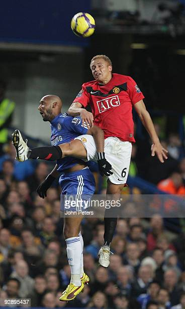 Wes Brown of Manchester United and Nicolas Anelka of Chelsea go up for a high ball during the FA Barclays Premier League match between Chelsea and...