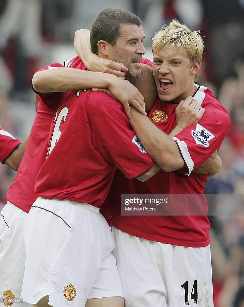 Wes Brown of Manchester United celebrates scoring the third goal during the Barclays Premiership match between Manchester United and Newcastle United at Old Trafford on April 24 2005 in Manchester, England.