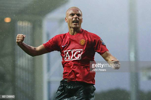 Wes Brown of Manchester United celebrates scoring their first goal during the FA Premier League match between Blackburn Rovers and Manchester United...