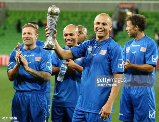 Wes Brown of Manchester United Legends celebrates a win during the match between the Liverpool Legends and the Manchester United Legends at AAMI Park...