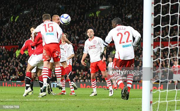Wes Brown of Manchester United scores their first goal during the FA Cup sponsored by Eon Fifth Round match between Manchester United and Crawley...