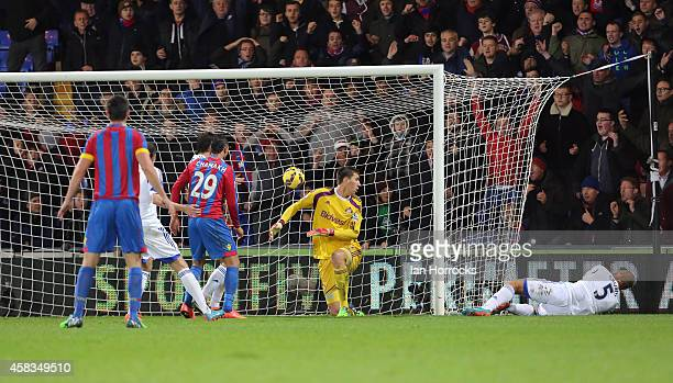 Wes Brown of Sunderland puts the ball past his own keeper during the Barclays Premier League match between Crystal Palace and Sunderland at Selhurst...