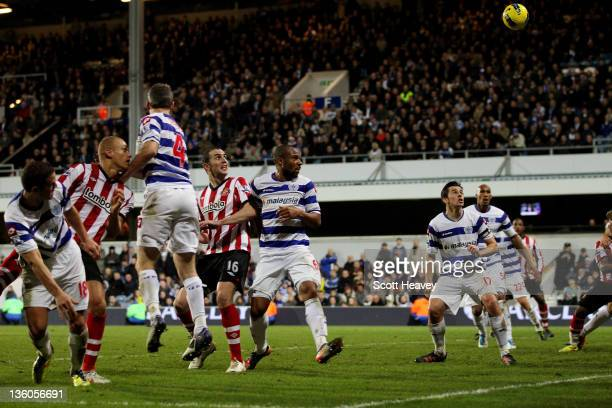 Wes Brown of Sunderland scores their third goal during the Barclays Premier League match between Queens Park Rangers and Sunderland at Loftus Road on...