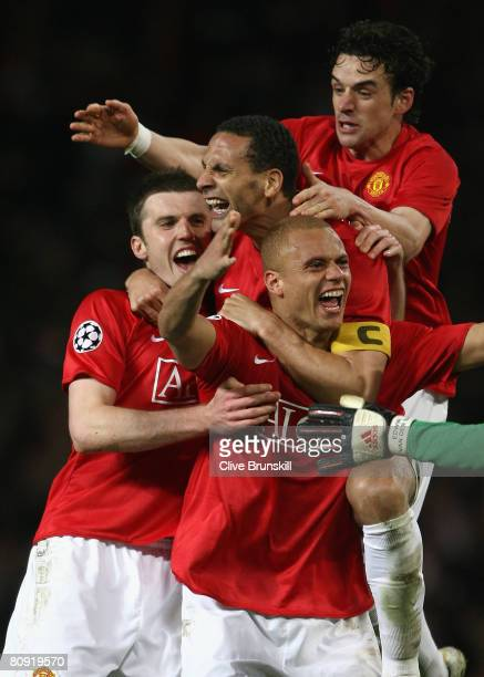 Wes Brown Owen Hargreaves Rio Ferdinand and Michael Carrick of Manchester United celebrate victory at the end of the UEFA Champions League Semi Final...