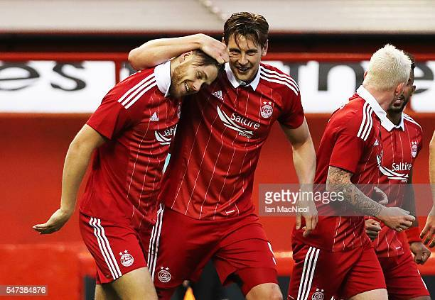 Wes Burns of Aberdeen celebrates after he scores during the UEFA Europa league second qualifying round first leg match between Aberdeen and Ventspils...
