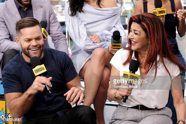 Wes Chatham and Shohreh Aghdashloo speak onstage at the #IMDboat at San Diego Comic-Con 2019: Day Three at the IMDb Yacht on July 20, 2019 in San...