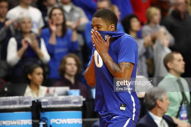 Wes Clark of the Buffalo Bulls reacts during the second half against the Kentucky Wildcats in the second round of the 2018 NCAA Men's Basketball...
