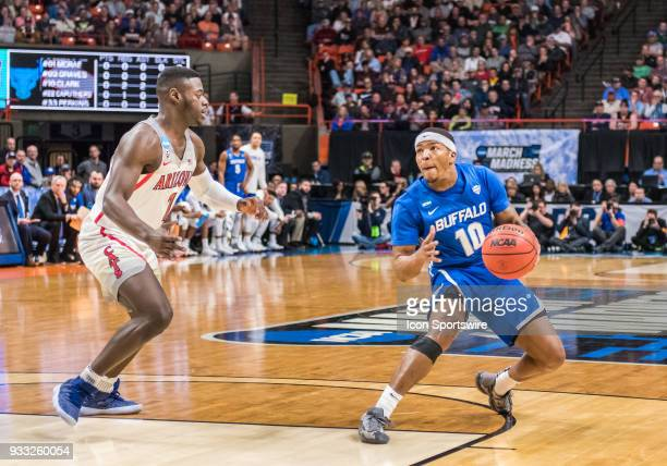 Wes Clark of the Buffalo Bulls steps back from G Rawle Alkins of the Arizona Wildcats to set up a shot during the NCAA Division I Men's Championship...