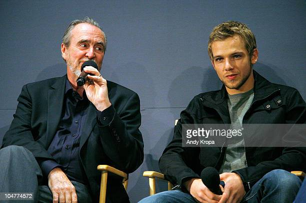 Wes Craven and Max Thieriot visit the Apple Store Soho on October 4 2010 in New York City