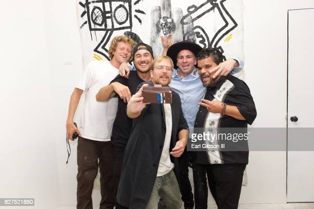 """Wes, Dan Connely, Chad Muska, Danny Minnick and Luis Guzman take a selfie at HOMME Gallery and Afrikicks presents Danny Minnick's pop up show """"Over..."""
