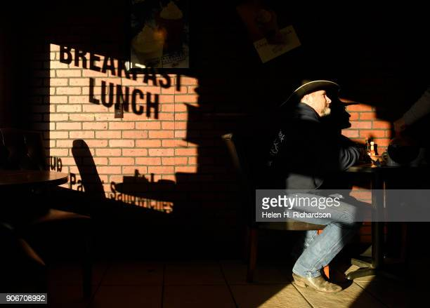 RANGELY CO DECEMBER 5 Wes Dunn enjoys a cup of coffee and breakfast while the morning sun streams in at the Main Street Cafe on December 5 2017 in...