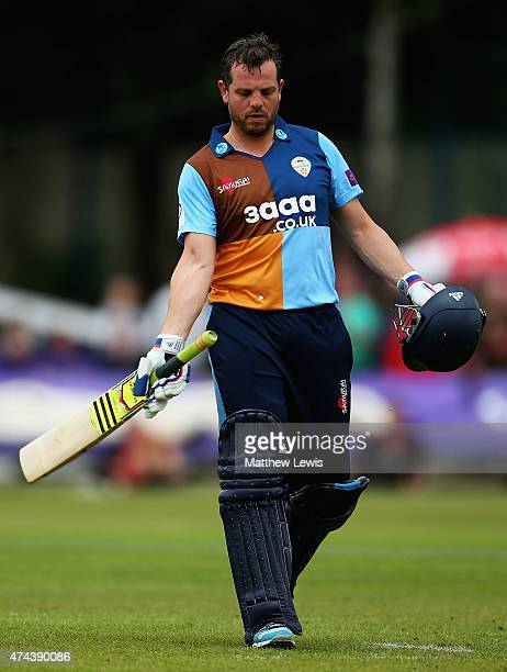 Wes Durston of Derbyshire looks on after he was caught by Niall O'Brien of Leicestershire off the bowling of Kevin O'Brien during the NatWest T20...