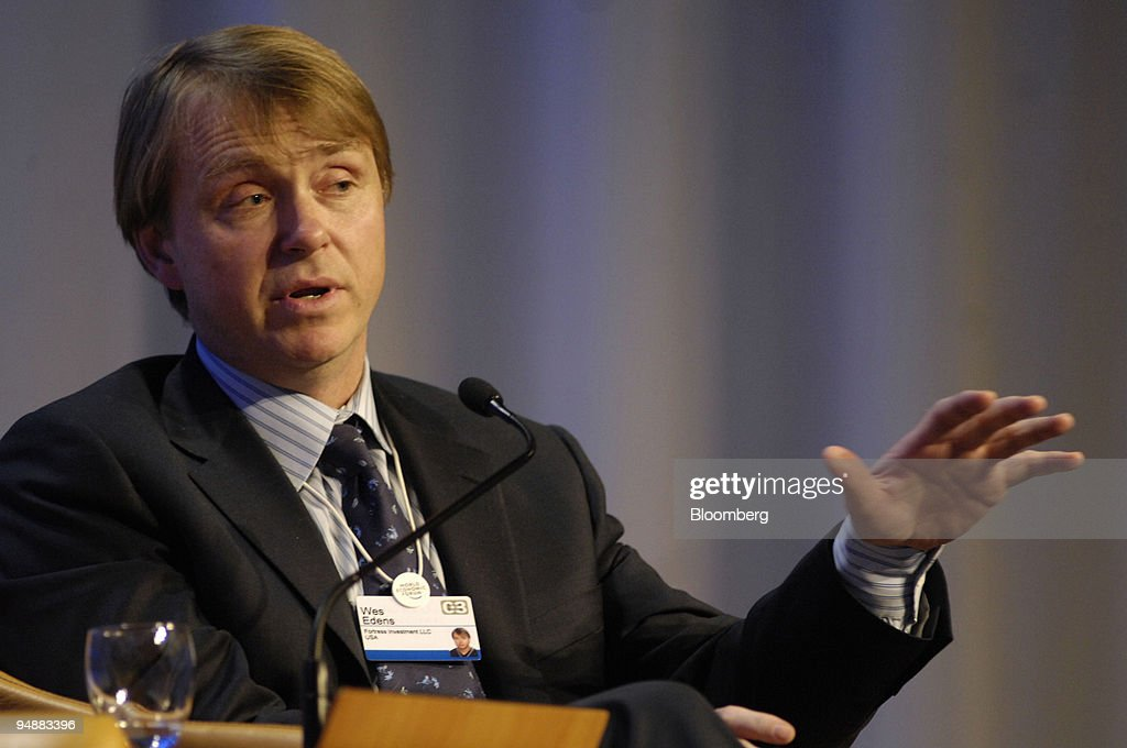 Wes Edens, chairman and chief executive officer of Fortress Investment of the European Central Bank, speaks during a session on day two of the World Economic Forum in Davos, Switzerland, on Thursday, Jan. 24, 2008. The 38th annual meeting of the World Economic Forum attracted nearly 2,400 global leaders to the mountain resort town.