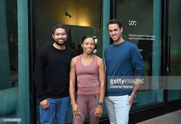 Wes Felix, Allyson Felix, and Darren Breedveld attend a work out led by Megan Roup from The Sculpt Society as Olympian Allyson Felix opens Saysh's...