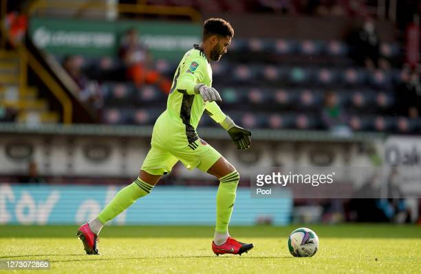 Wes Foderingham of Sheffield United takes a goal kick during the Carabao Cup second round match between Burnley and Sheffield United at Turf Moor on...