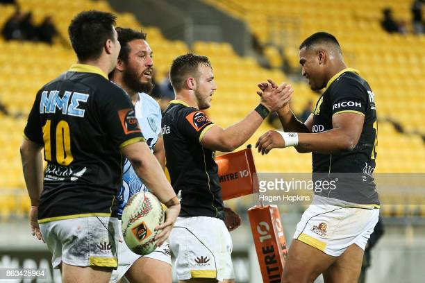 Wes Goosen of Wellington celebrates with Julian Savea after scoring a try during the Mitre 10 Cup Semi Final match between Wellington and Northland...