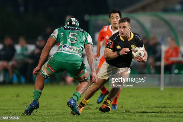 Wes Goosen of Wellington looks to evade Jackson Hemopo of Manawatu during the round one Mitre 10 Cup match between Manawatu and Wellington at Central...