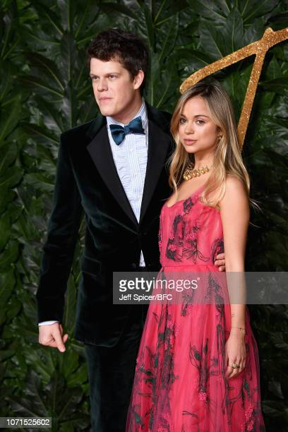 Wes Gordon and Lady Amelia Windsor arrive at The Fashion Awards 2018 In Partnership With Swarovski at Royal Albert Hall on December 10 2018 in London...