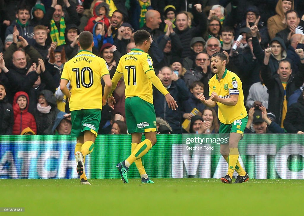 Wes Hoolahan of Norwich City celebrates his sides second goal scored by Josh Murphy during the Sky Bet Championship match between Norwich City and Leeds United at Carrow Road on April 28, 2018 in Norwich, England.