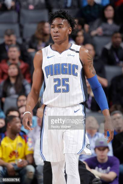 Wes Iwundu of the Orlando Magic looks on during the game against the Sacramento Kings on March 9 2018 at Golden 1 Center in Sacramento California...