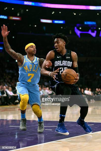 Wes Iwundu of the Orlando Magic plays against Isaiah Thomas of the Los Angeles Lakers on March 7 2018 at STAPLES Center in Los Angeles California...