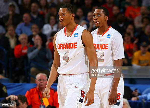 Wes Johnson and Kris Joseph of the Syracuse Orange look on against the Gonzaga Bulldogs during the second round of the 2010 NCAA men's basketball...
