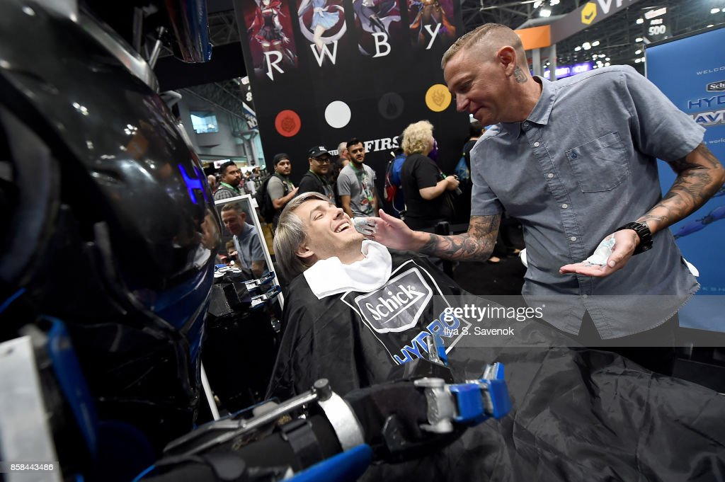 Wes Johnson of the Smosh Games crew gets a shave from Schick Hydro At New York Comic-Con 2017 on October 6, 2017 in New York City.