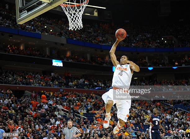 Wes Johnson of the Syracuse Orange goes up for the dunk against the Gonzaga Bulldogs during the second round of the 2010 NCAA men's basketball...