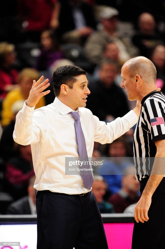 Wes Miller head coach University of North Carolina Greensboro (UNCG) Spartans gets on a referee during the game against the Wofford College Terriers, Tuesday, February 20, 2018, at Richardson Indoor Stadium in Spartanburg, South Carolina. UNC Greensboro wins 76-66.