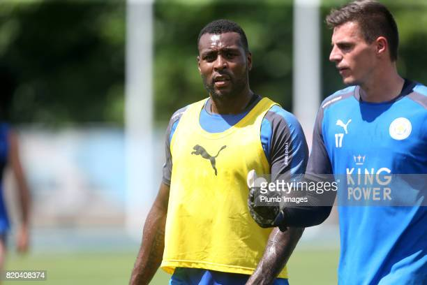 Wes Morgan and Eldin Jakupovic of Leicester City during the training session in Hong Kong ahead of the Premier League Asia Trophy final against...