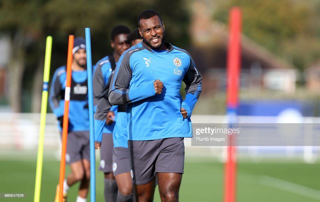 Wes Morgan during the Leicester City training session at Belvoir Drive Training Complex on October 12 , 2017 in Leicester, United Kingdom.