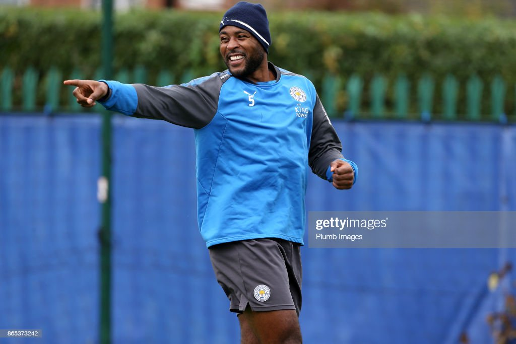 Wes Morgan during the Leicester City training session at Belvoir Drive Training Complex on October 23 , 2017 in Leicester, United Kingdom.