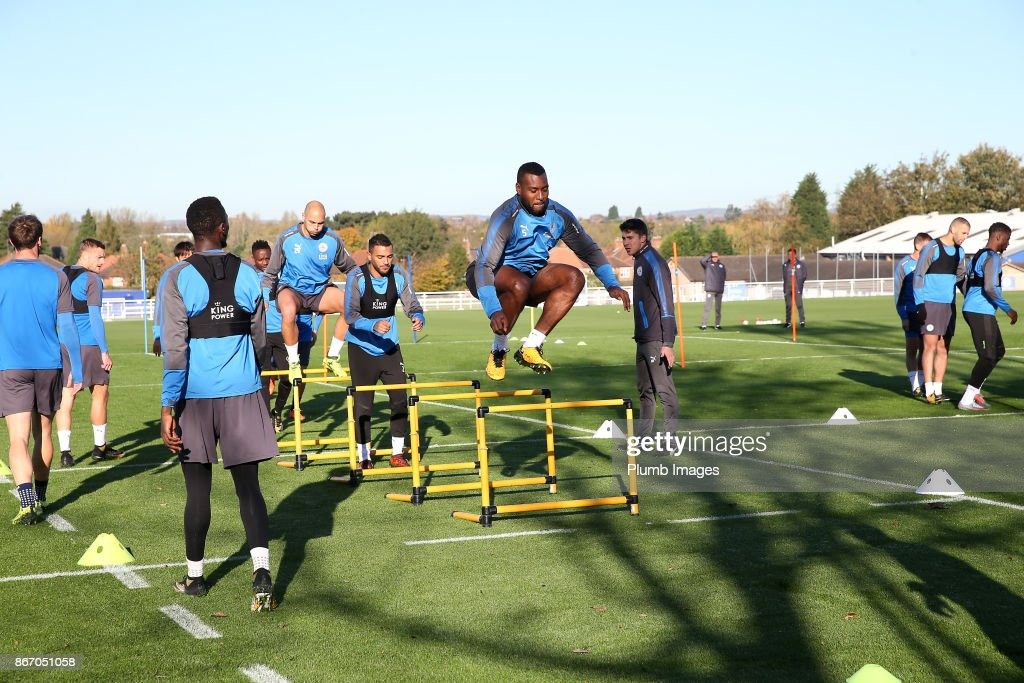 Wes Morgan during the Leicester City training session at Belvoir Drive Training Complex on October 27 , 2017 in Leicester, United Kingdom.