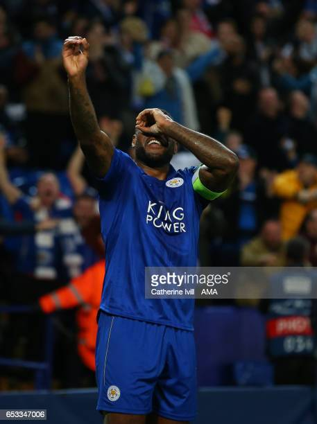 Wes Morgan of Leicester City celebrates after he scores a goal to make it 10 during the UEFA Champions League Round of 16 second leg match between...