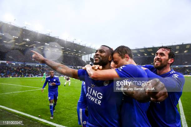Wes Morgan of Leicester City celebrates after scoring a goal to make it 12 during the Premier League match between Burnley FC and Leicester City at...