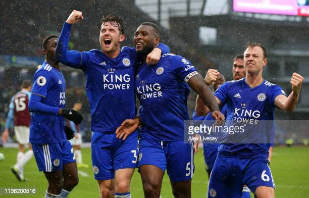 Wes Morgan of Leicester City celebrates after scoring his team's second goal with Ben Chilwell of Leicester City during the Premier League match...