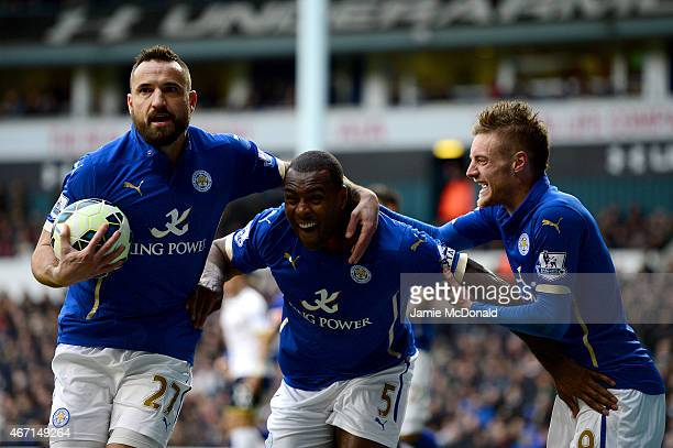 Wes Morgan of Leicester City celebrates after scoring his team's second goal during the Barclays Premier League match between Tottenham Hotspur and...