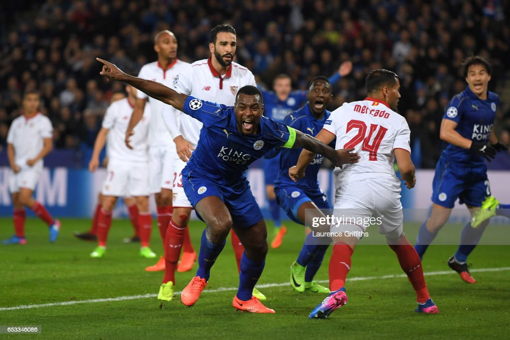 Wes Morgan of Leicester City celebrates after scoring the opening goal during the UEFA Champions League Round of 16, second leg match between Leicester City and Sevilla FC at The King Power Stadium on March 14, 2017 in Leicester, United Kingdom.