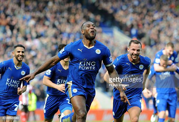 Wes Morgan of Leicester City celebrates after scoring to make it 1-0 during the Barclays Premier League match between Leicester City and Southampton...
