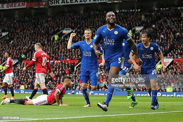 Wes Morgan of Leicester City celebrates scoring a goal to make the score 11 during the Barclays Premier League match between Manchester United and...
