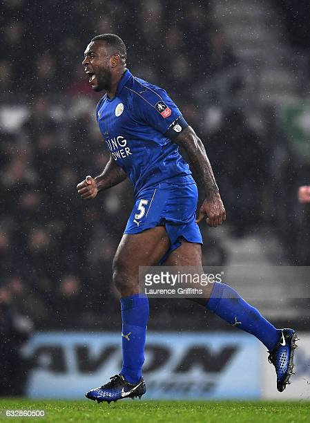 Wes Morgan of Leicester City celebrates scoring his sides second goal during The Emirates FA Cup Fourth Round match between Derby County and...