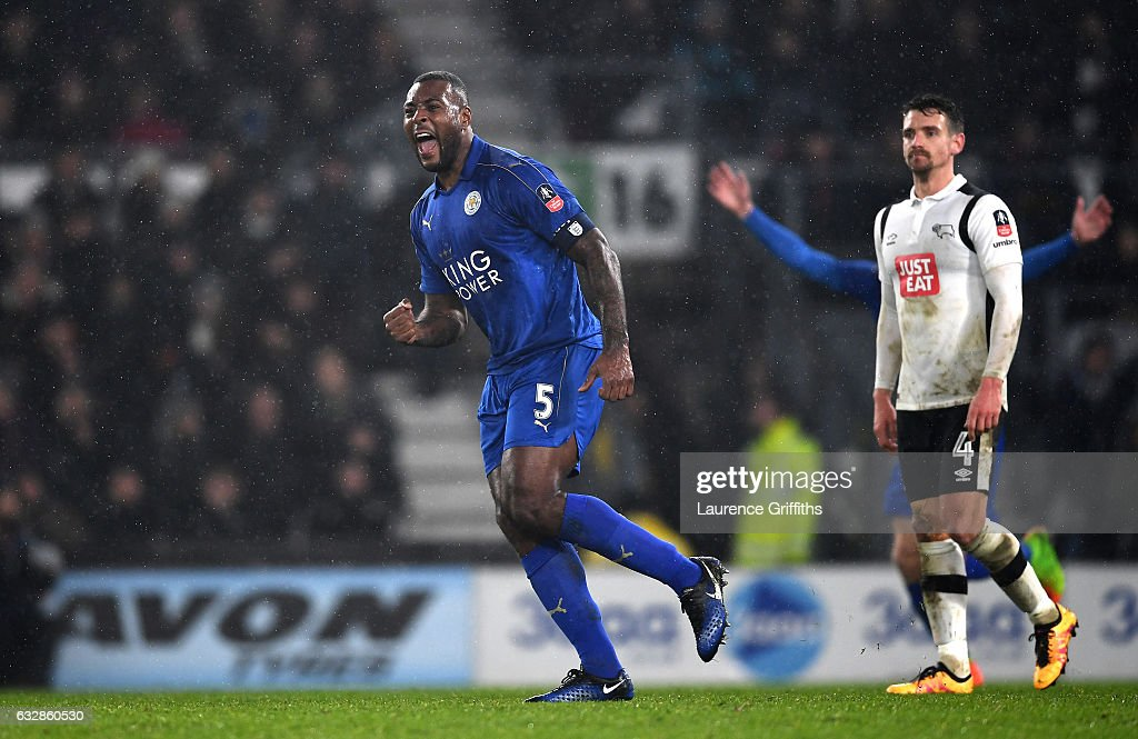Wes Morgan of Leicester City celebrates scoring his sides second goal during The Emirates FA Cup Fourth Round match between Derby County and Leicester City at iPro Stadium on January 27, 2017 in Derby, England.