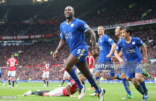 Wes Morgan of Leicester City celebrates scoring their first goal during the Barclays Premier League match between Manchester United and Leicester...