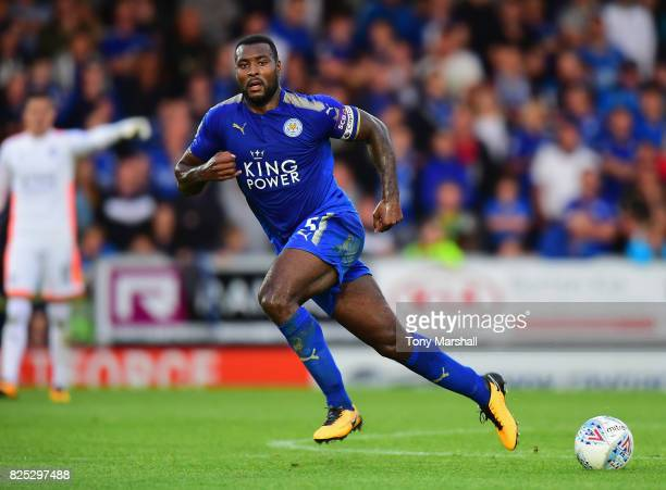 Wes Morgan of Leicester City during the PreSeason Friendly match between Burton Albion v Leicester City at Pirelli Stadium on August 1 2017 in...