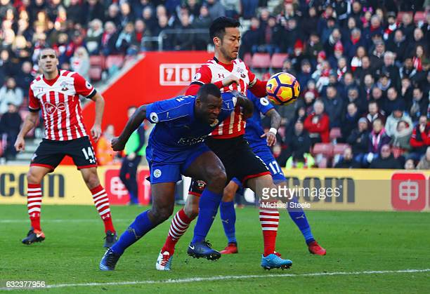 Wes Morgan of Leicester City heads an own goal but disallowed due to offiside during the Premier League match between Southampton and Leicester City...