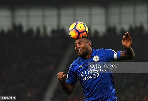 Wes Morgan of Leicester City heads the ball during the Premier League match between Stoke City and Leicester City at Bet365 Stadium on December 17...