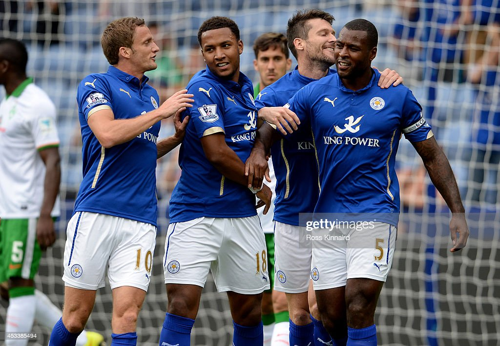 Wes Morgan of Leicester City is congratulated after scoring the opening goal during the pre season friendly match between Leicester City and Werder Bremen at The King Power Stadium on August 9, 2014 in Leicester, England.
