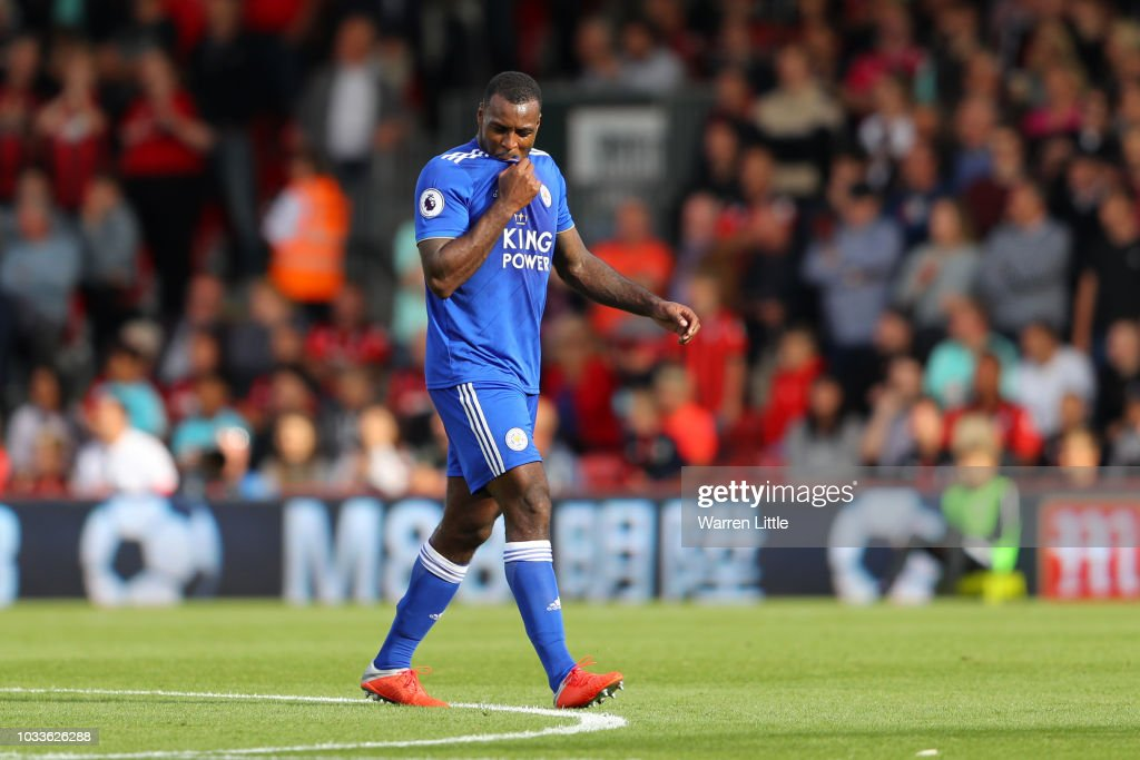 Wes Morgan of Leicester City leaves the pitch following receiving a red card during the Premier League match between AFC Bournemouth and Leicester City at Vitality Stadium on September 15, 2018 in Bournemouth, United Kingdom.