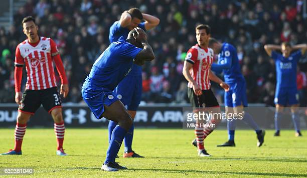 Wes Morgan of Leicester City reacts during the Premier League match between Southampton and Leicester City at St Mary's Stadium on January 22 2017 in...